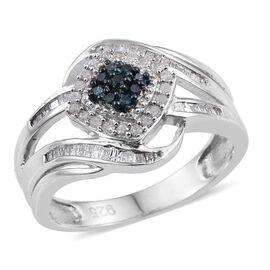 Blue Diamond, White Diamond 0.50 Carat Ring in Platinum Overlay Sterling Silver.