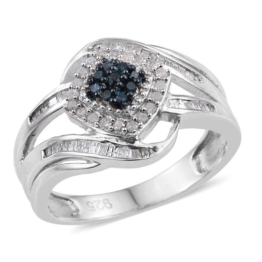 Blue Diamond Platinum: Blue Diamond, White Diamond 0.50 Carat Ring In Platinum