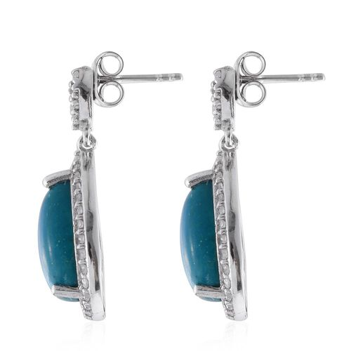 Natural Rare Opalina (Pear), Natural Cambodian Zircon Earrings (with Push Back) in Platinum Overlay Sterling Silver 9.500 Ct.