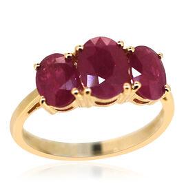 ILIANA 18K Y Gold Burmese Ruby (Ovl 1.75 Ct) 3 Stone Ring 3.750 Ct.