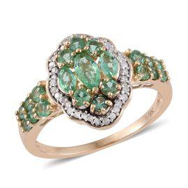 9K Y Gold AA Boyaca Colombian Emerald (Mrq), Diamond (I3/G-H) Ring 1.750 Ct.
