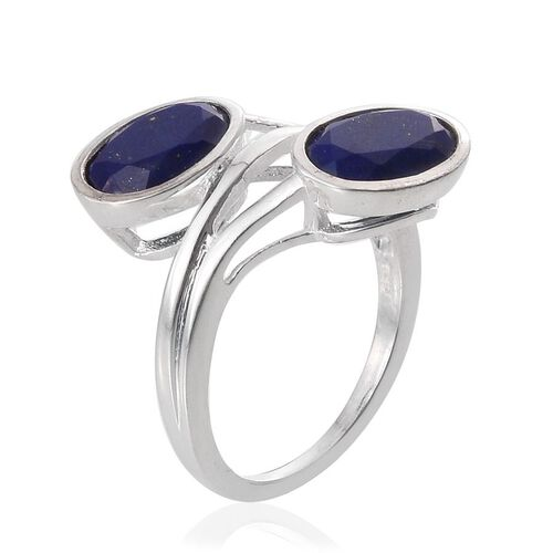 Lapis Lazuli (Ovl) Crossover Ring in Sterling Silver 3.000 Ct.