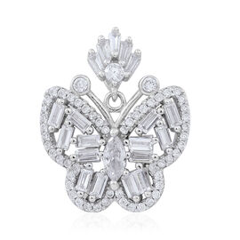 Signature Collection-ELANZA AAA Simulated White Diamond (Bgt) Butterfly Pendant in Rhodium Plated Sterling Silver