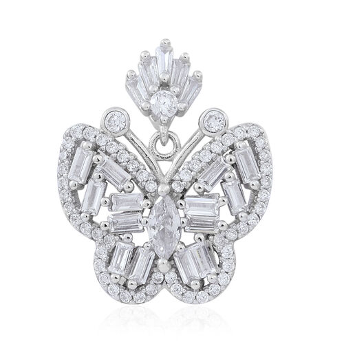 ELANZA AAA Simulated White Diamond (Bgt) Butterfly Pendant in Rhodium Plated Sterling Silver