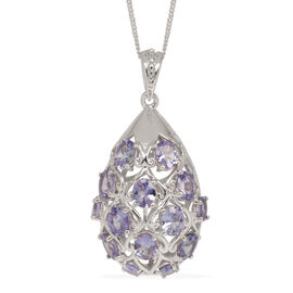 Tanzanite (Ovl) Pendant With Chain in Platinum Overlay Sterling Silver 4.250 Ct.