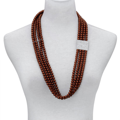 Chocolate Colour Glass Pearl and White Austrian Crystal Stretchable Belt (Size 32) in Silver Tone