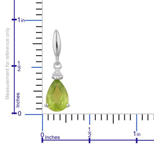 AA Hebei Peridot (Pear), White Topaz Earrings (with Push Back) in Platinum Overlay Sterling Silver 2.800 Ct.