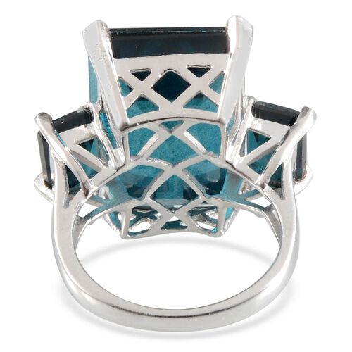Indicolite Quartz (Oct 18.50 Ct) 3 Stone Ring in Platinum Overlay Sterling Silver 21.000 Ct.