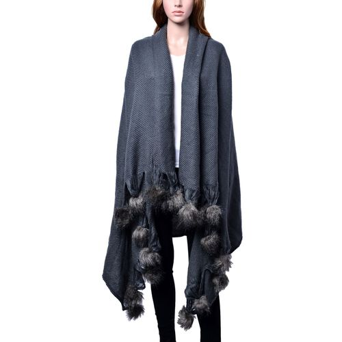 Grey Colour Plaid-Shawl with Pom Pom (Size 160x130 Cm)