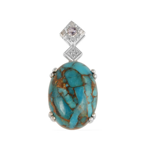 Mojave Turquoise (Ovl 10.00 Ct), Iolite Pendant in Sterling Silver 10.040 Ct.