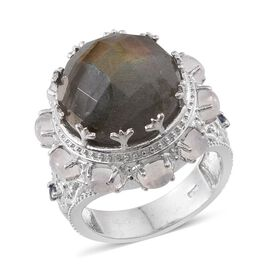 Labradorite (Rnd 11.25 Ct), Rainbow Moonstone and Kanchanaburi Blue Sapphire Ring in Platinum Overlay Sterling Silver 13.550 Ct.