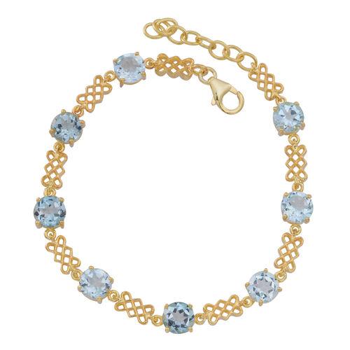 Sky Blue Topaz (Rnd) Bracelet (Size 7.5) in 14K Gold Overlay Sterling Silver 12.000 Ct.