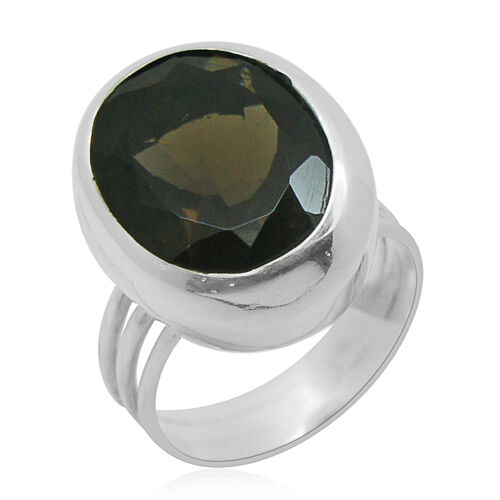 Royal Bali Collection Brazilian Smoky Quartz (Ovl) Solitaire Ring in Sterling Silver 8.350 Ct.