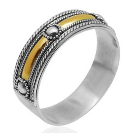 Royal Bali Collection 14K Yellow Gold Overlay Sterling Silver Band Ring, Silver wt 3.50 Gms.