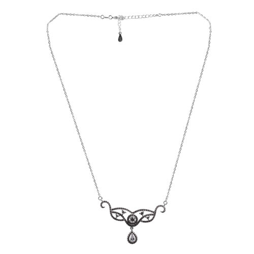 (Option 2) ELANZA AAA Simulated Diamond (Pear) Necklace (Size 16) in Rhodium Plated Sterling Silver