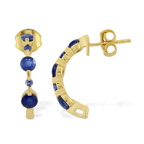 9K Y Gold Kanchanapuri Blue Sapphire (Rnd) J Hoop Earrings 1.416 Ct.