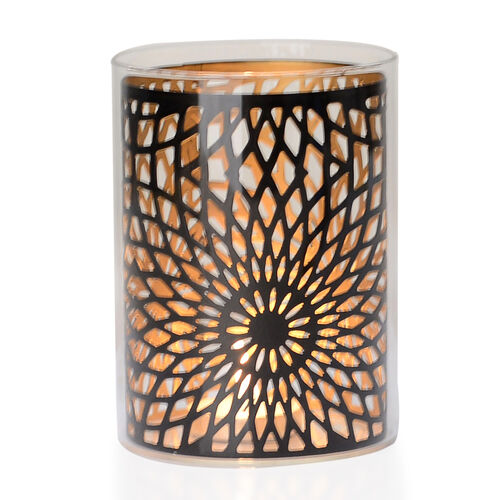 Home Decor - Black Colour Flower Pattern Glass Candle Holder