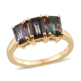 Northern Lights Mystic Topaz (Oct) Trilogy Ring in 14K Gold Overlay Sterling Silver 3.500 Ct.