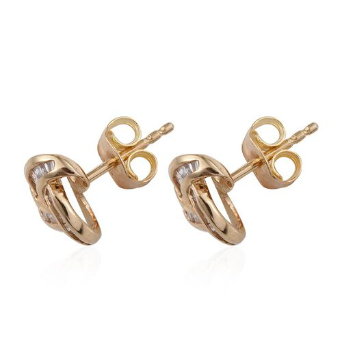 Diamond (Bgt) Knot Stud Earrings (with Push Back) in 14K Gold Overlay Sterling Silver 0.25 Ct.