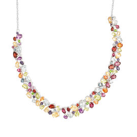 Sky Blue Topaz (Ovl 0.94 Ct), Citrine, Hebei Peridot, Rhodolite, Mozambique Garnet and Multi GemStone Necklace in Rhodium Plated Sterling Silver (Size 18) 28.500 Ct.