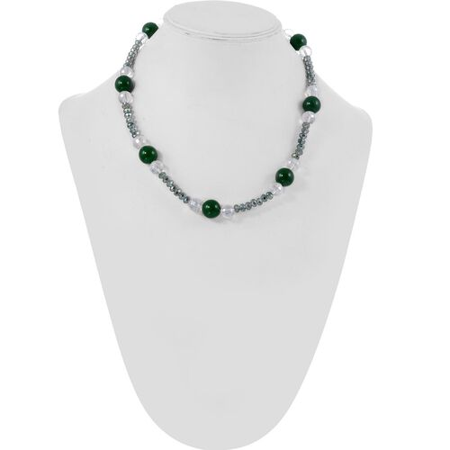 Jewels of India Green Agate and Glass Beads Necklace (Size 20) in Silver Tone 192.54 Ct.