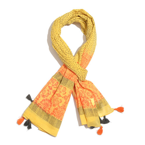 100% Cotton Hand Block Printed Yellow, Orange and Chocolate Colour Pareo with Tassels (Size 180x100 Cm)