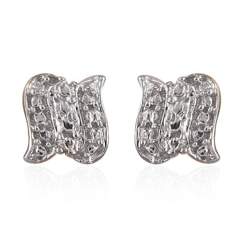 Diamond (Rnd) Pendant and Stud Earrings (with Push Back) in 14K Gold Overlay Sterling Silver