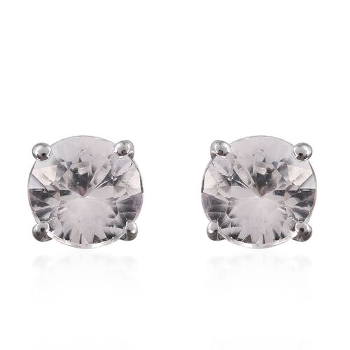 9K W Gold AAA Natural Cambodian Zircon (Rnd) Stud Earrings (with Push Back) 1.250 Ct.