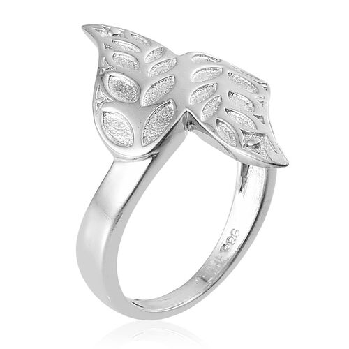 Platinum Overlay Sterling Silver Leaf Crossover Ring, Silver wt 4.34 Gms.