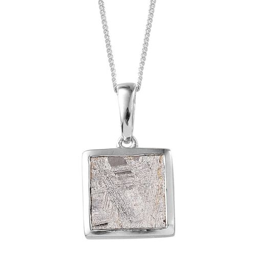 Meteorite (Sqr) Solitaire Pendant With Chain in Platinum Overlay Sterling Silver 9.750 Ct.