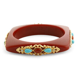 Howlite, Blood Stone and White Austrian Crystal Bangle with Red Resin (Size 7.5) in Gold Tone