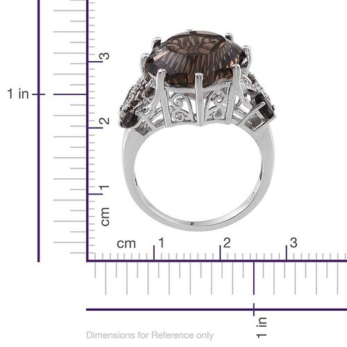 Brazilian Smoky Quartz and White Topaz Ring in Platinum Overlay Sterling Silver 12.750 Ct.