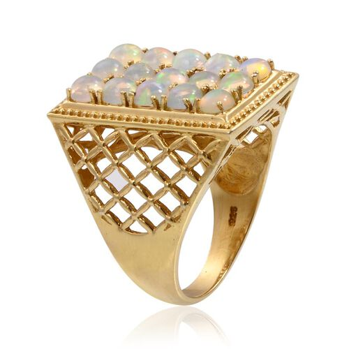 Ethiopian Welo Opal (Rnd) Ring in 14K Gold Overlay Sterling Silver 3.250 Ct.