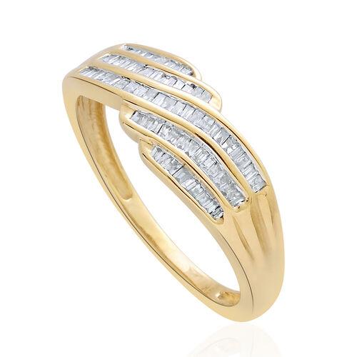 9K Y Gold SGL Cerified Diamond (Bgt) (I 3/G-H) Ring 0.250 Ct.
