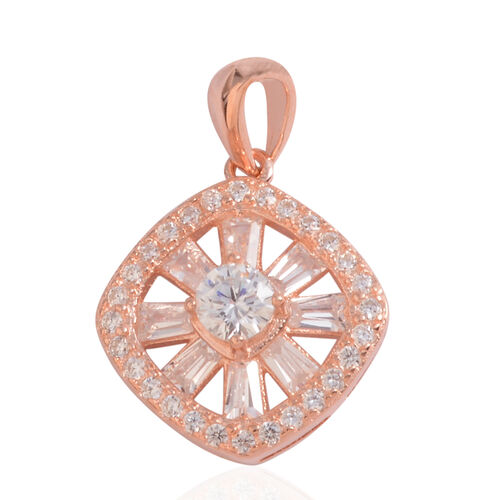 JCK Vegas Collection ELANZA AAA Simulated Diamond (Rnd) Pendant in Rose Gold Overlay Sterling Silver