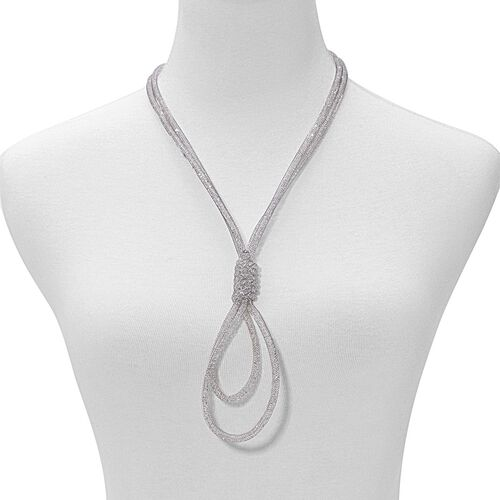 (Option 3) White Austrian Crystal Necklace (Size 24 with 3 inch Extender) in Silver Tone