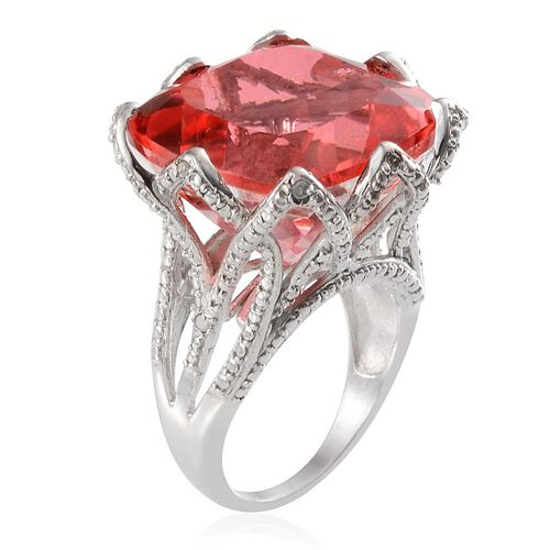 Padparadscha Colour Quartz (Cush 30.00 Ct), Diamond Ring in Platinum Overlay Sterling Silver 30.050 Ct.