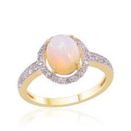 9K Y Gold Ethiopian Welo Opal (Ovl 1.25 Ct), White Sapphire Ring 1.650 Ct.