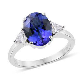 RHAPSODY 950 Platinum 2.55 Carat AAAA Tanzanite Ring With Side Diamond VS E-F