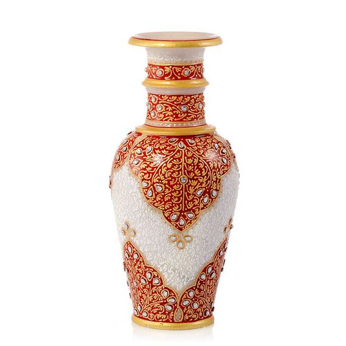 Home Decor - Hand Crafted Crystal Studded and Red Enameled Marble Vase (Size 9)