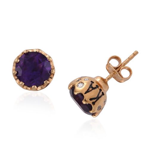 JCK Vegas Collection Amethyst (Rnd), Natural Cambodian Zircon Stud Earrings (with Push Back) in Yellow Gold Overlay Sterling Silver 3.737 Ct.