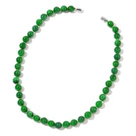 OTO - Rare Green Jade Beads Necklace (Size 18) in Rhodium Plated Sterling Silver 315.00 Ct.