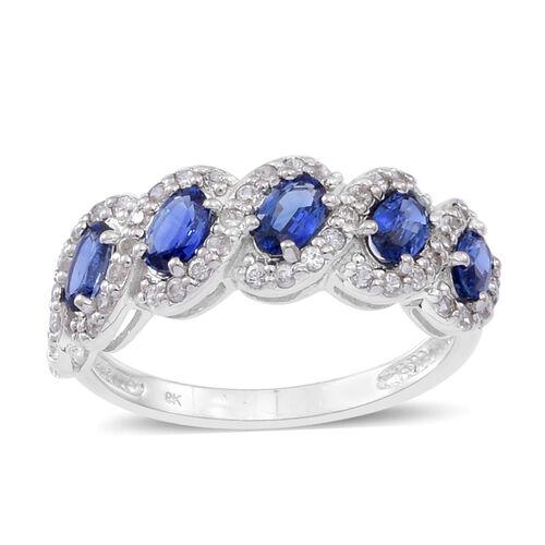 9K W Gold Rare AAA Ceylon Blue Sapphire (Ovl), Natural Cambodian White Zircon Ring 2.000 Ct.