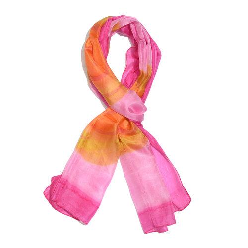 100% Mulberry Silk Pink, Orange and Multi Colour Suzani Printed Scarf (Size 180x50 Cm)