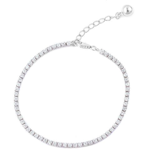 ELANZA AAA Simulated White Diamond Tennis Bracelet (Size 7 with 1 inch Extender) in Rhodium Plated Sterling Silver