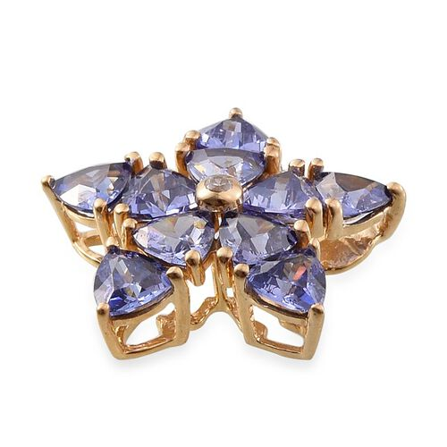ELANZA AAA Simulated Tanzanite (Trl), Simulated Diamond Floral Pendant in 14K Gold Overlay Sterling Silver
