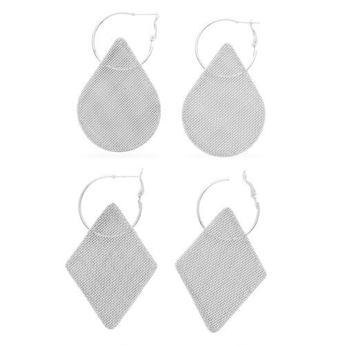 Set of 2 - Mesh Hoop Earrings in Silver Tone