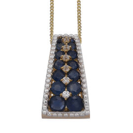 Kanchanaburi Blue Sapphire (Rnd), Natural Cambodian Zircon Pendant With Chain in 14K Gold Overlay Sterling Silver 1.670 Ct.