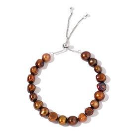 Fresh Water Chocolate Pearl Adjustable Bracelet (Size 7-10) in Rhodium Plated Sterling Silver