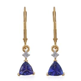 14K Y Gold AA Tanzanite (Trl), Diamond (I3/G-H) Lever Back Earrings 1.500 Ct.